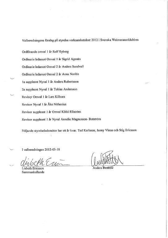 Valberedningens förslag till styrelse 2012